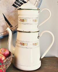 Antique French Cream Enamelware Biggin Cafetiere Large