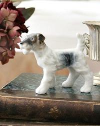 Vintage Porcelain Wire Haired Terrier Dog Figure