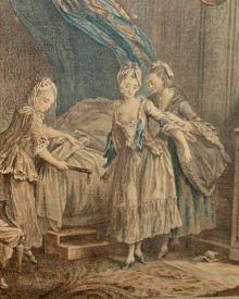 Antique French Boudoir Prints Hand Colored Gilt Gesso Frame Pair