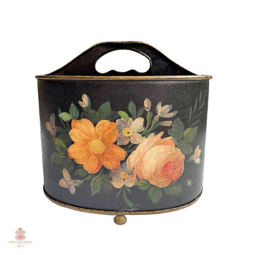 Hand Painted Tole Floral Caddy