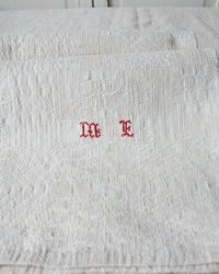 Large Antique French Kitchen Towel Monogram M F