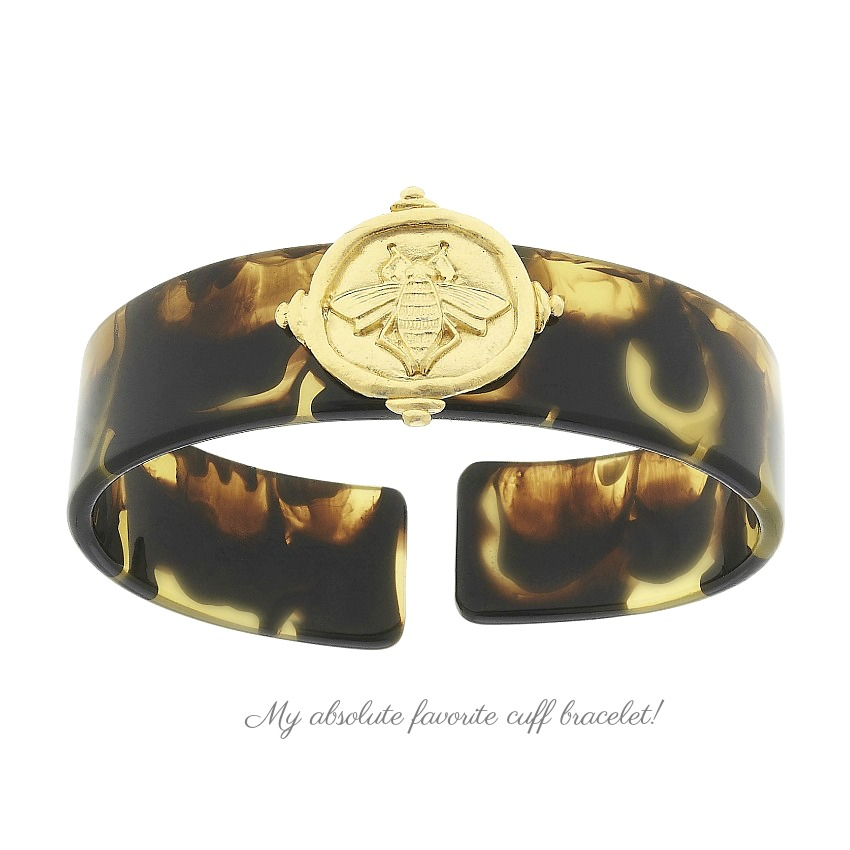 Tortoise Cuff Bracelet with Gold Cast Bee