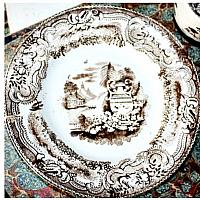 Antique Miniature Staffordshire Sepia Brown Transferware 3 pc. Tea Set