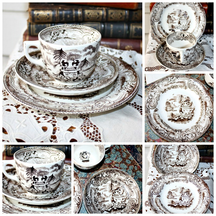 Antique Victorian Child's Sepia Brown Transferware 3 pc. Tea Set