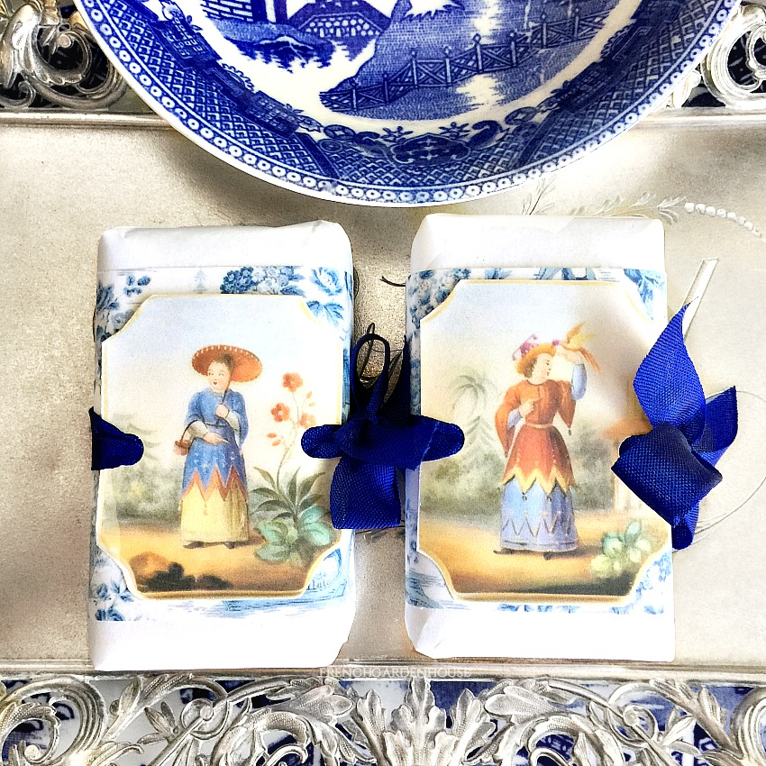 French Custom Wrapped Soap Set with Blue & White Chinoiserie Plate
