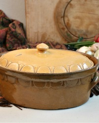 Antique French Country Yellow Glazed Pottery Tureen Oval Lrg.