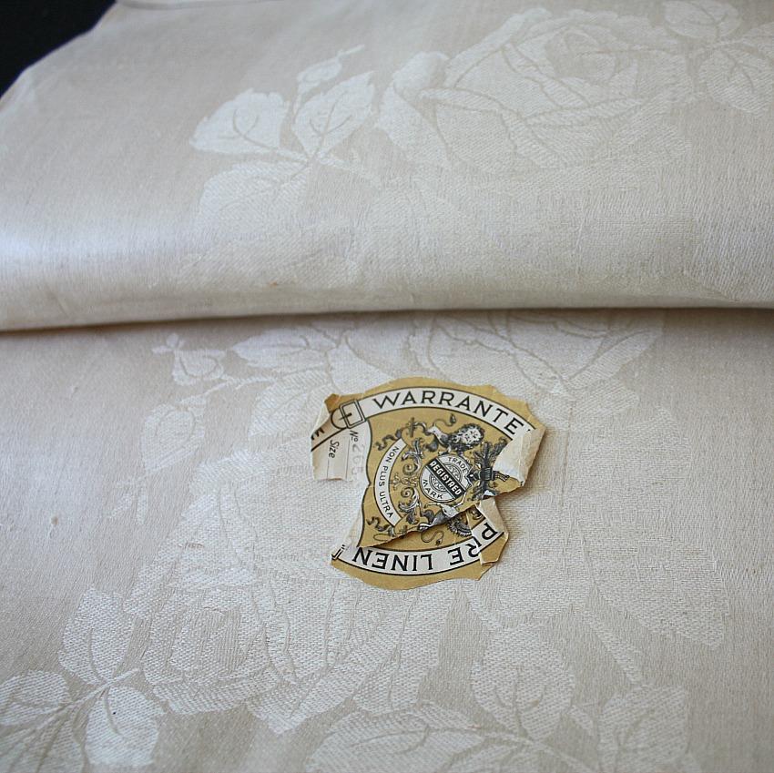 Unused Rose Damask Pure Linen Cream Table Cloth