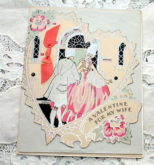 Vintage 1920's Deco Valentine's Day WIFE Card