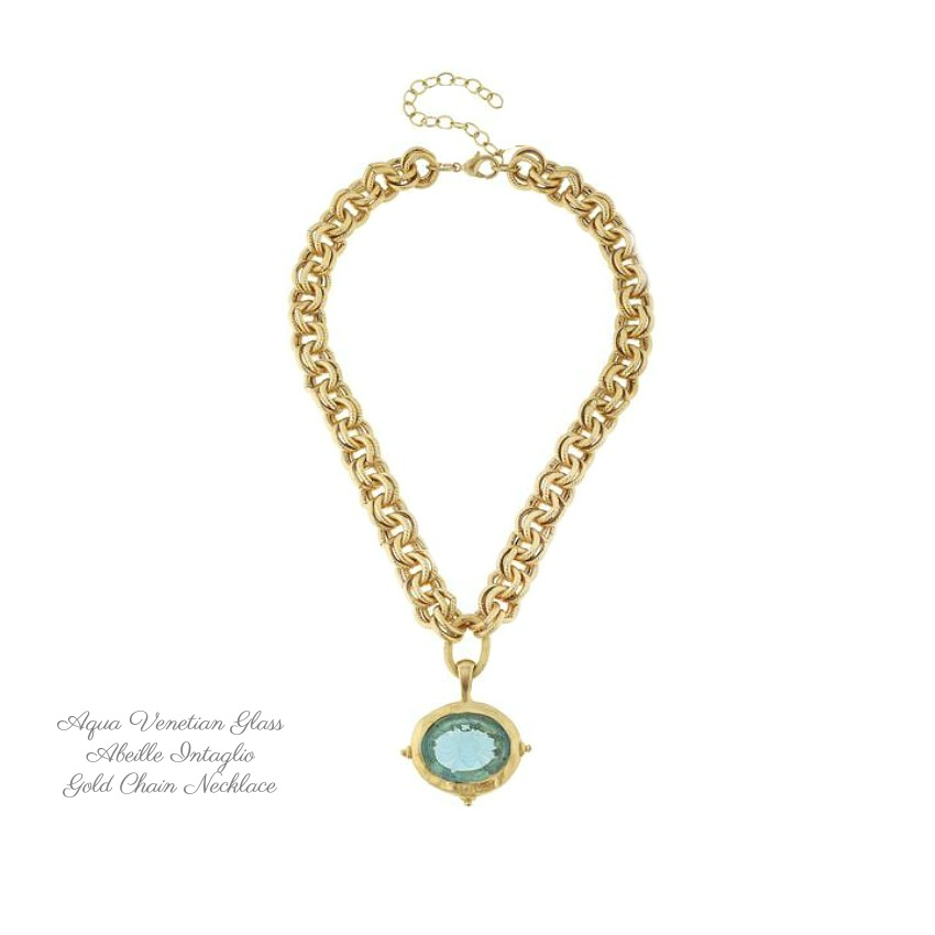 Aqua Venetian Glass Abeille Intaglio on Gold Chain Necklace