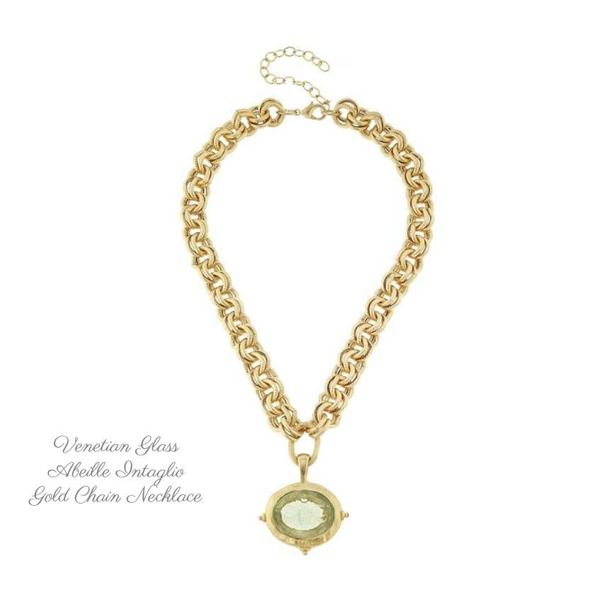 Venetian Glass Abeille Intaglio on Gold Chain Necklace