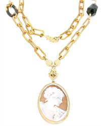 Extasia Elise Cameo Pendant Necklace Long One of a Kind