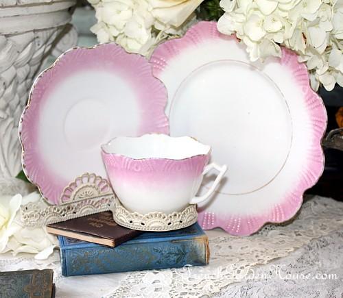 Antique Victorian Pink Lustreware Teacup Trio