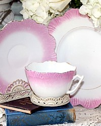 Antique Victorian Pink Lustreware Teacup Trio