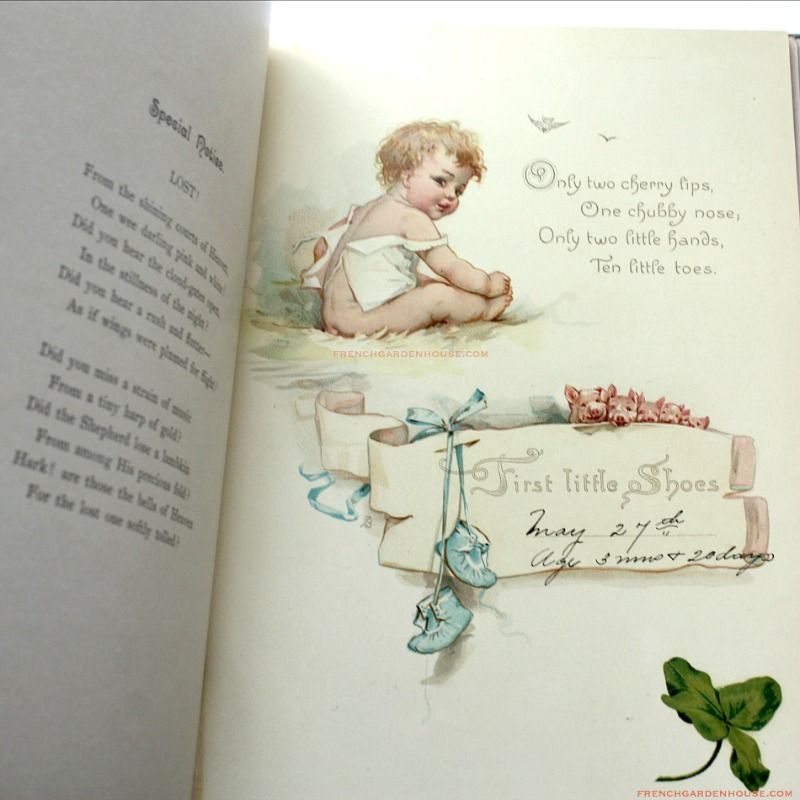 Antique Illustrated Frances Brundage Baby's Book Color Lithographs Tuck