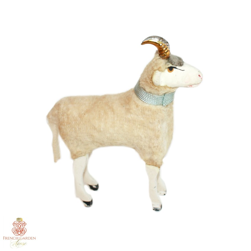 Antique Sheep with Gold Metal Horns