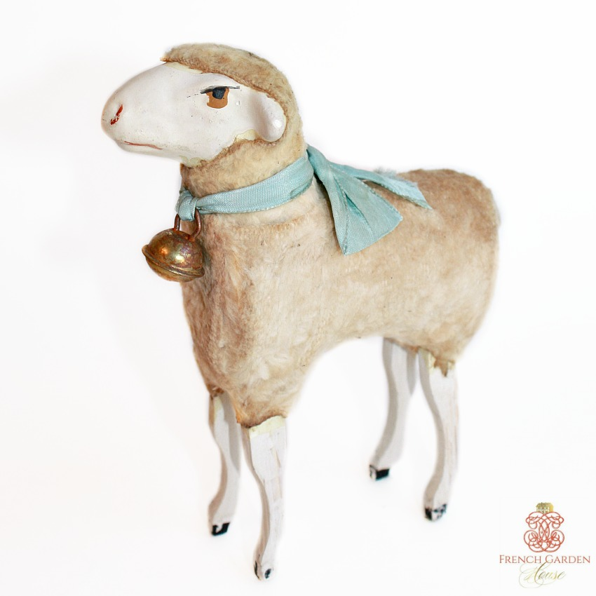 Rare Antique Large Curly Sheep Blue Bow and Bell