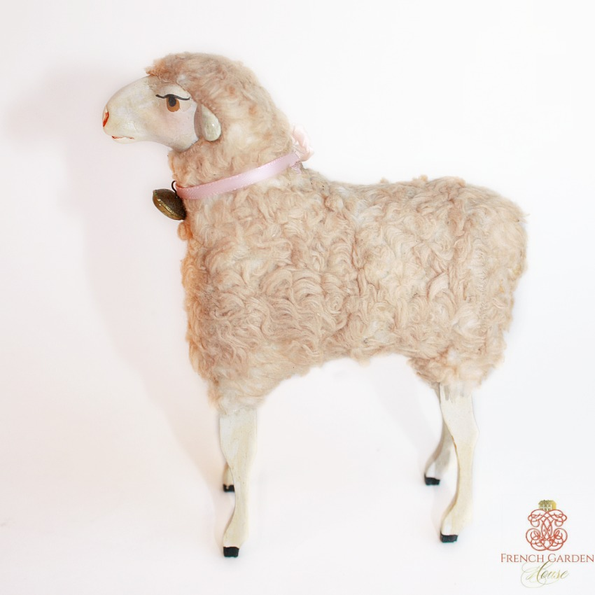 Rare Antique Large Curly Sheep with Baa-s Mechanism