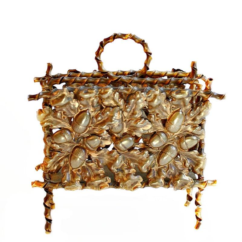 Antique Gilded Acorn Letter Holder