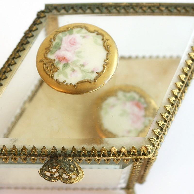 Antique Large Hand Painted Porcelain Buttons Pink Roses Pair