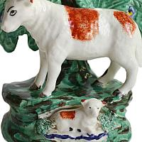 Antique Staffordshire Pearlware Sheep and  Lamb Spill Vase