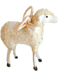 Antique Sheep with French Pink Silk Angel Wings