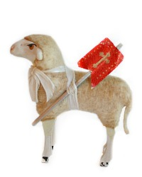 Antique Larger Putz Sheep with Red Cross Banner