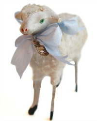 Antique Sheep with French Blue Silk Bow and Pink Flower