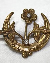 Antique Art Nouveau Floral Paste Gold Filled Brooch Pin