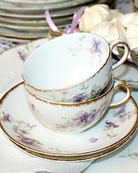 Antique French Haviland Limoges Purple Violet Floral cup and Saucer