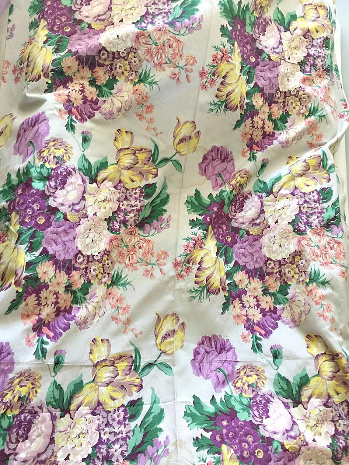 Vintage 1940's Purple Lavender Berkshire Floral Fabric