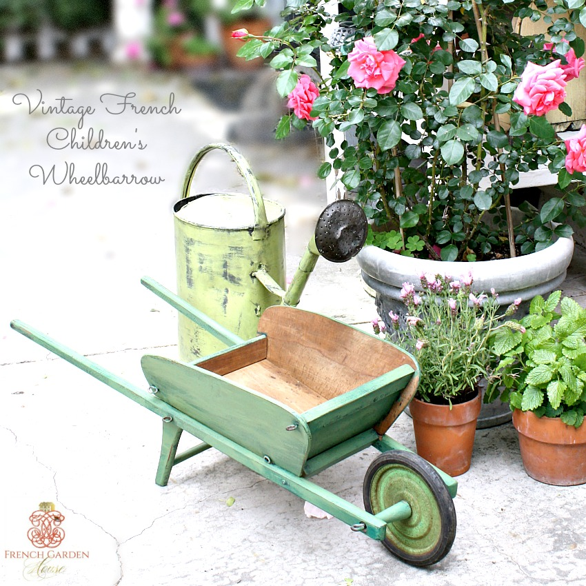 Vintage French Brouette Jardin Green Painted Children's Wheelbarrow