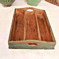 Vintage Country Green Hand Made Painted Divided Carrier Tray