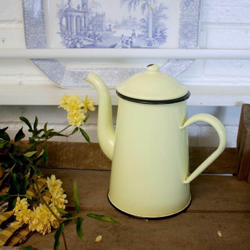 French Yellow Enamelware Coffee Pot