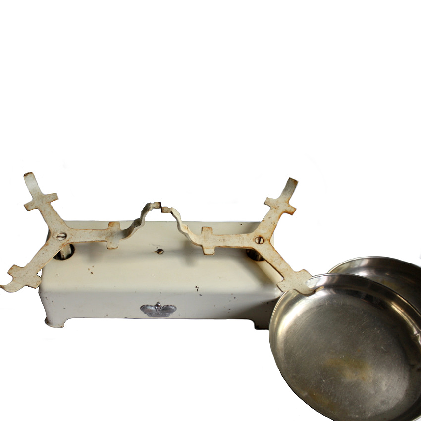 Vintage Cream Enameled Balance Scale with Crown