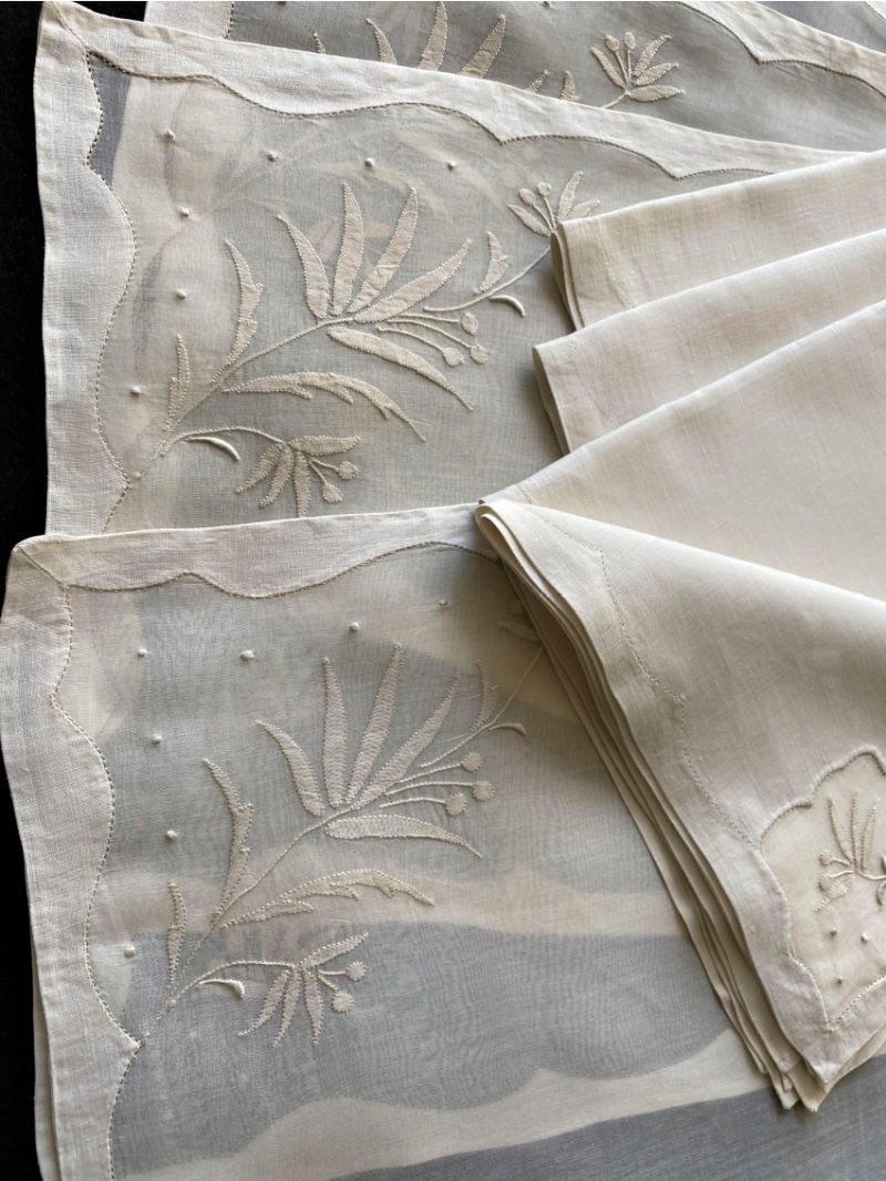 Vintage Madeira Organdy 8pc Placemat Setting for 4 Berried Flowers