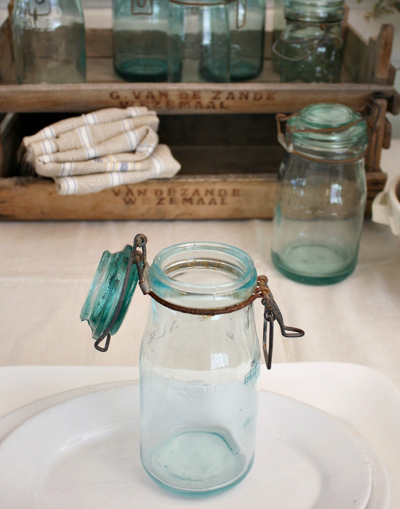 Vintage French Canning Jar Aqua Glass 3