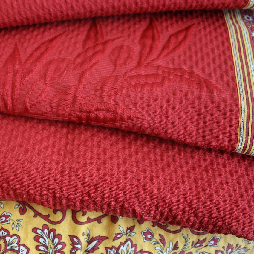 Vintage French Pique Red Tablecloth Square Provence