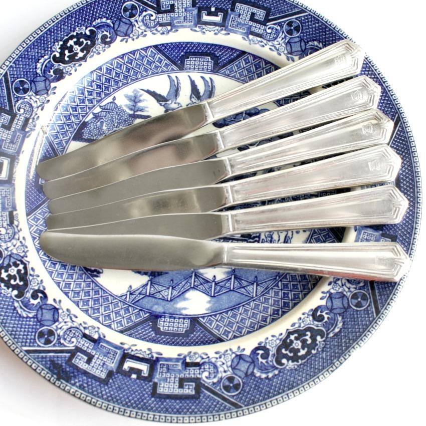 Vintage Hotel del Coronado Silver Bread Knives Set 6