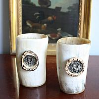 Vintage Hunting Beakers with Silver Embellishments
