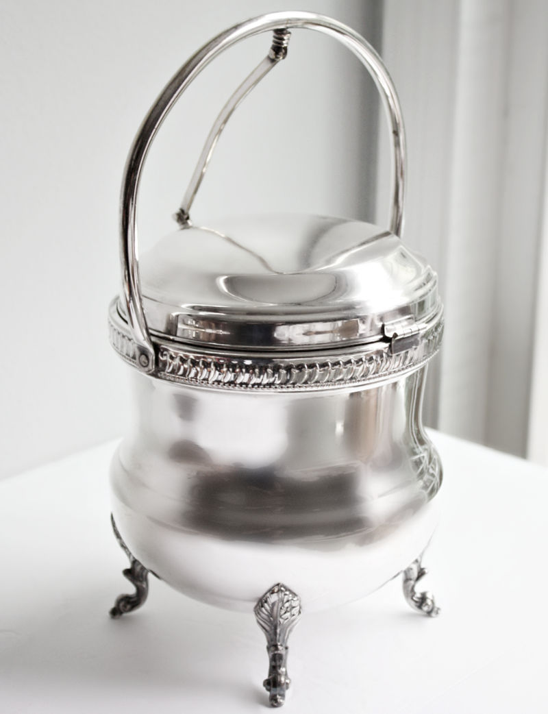 Vintage Silver over Copper Footed Ice Bucket
