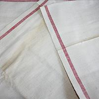 Vintage French Linen Fabric Bolt with Red Stripe
