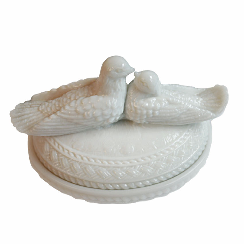 Vintage White Love Birds Covered Candy Dish