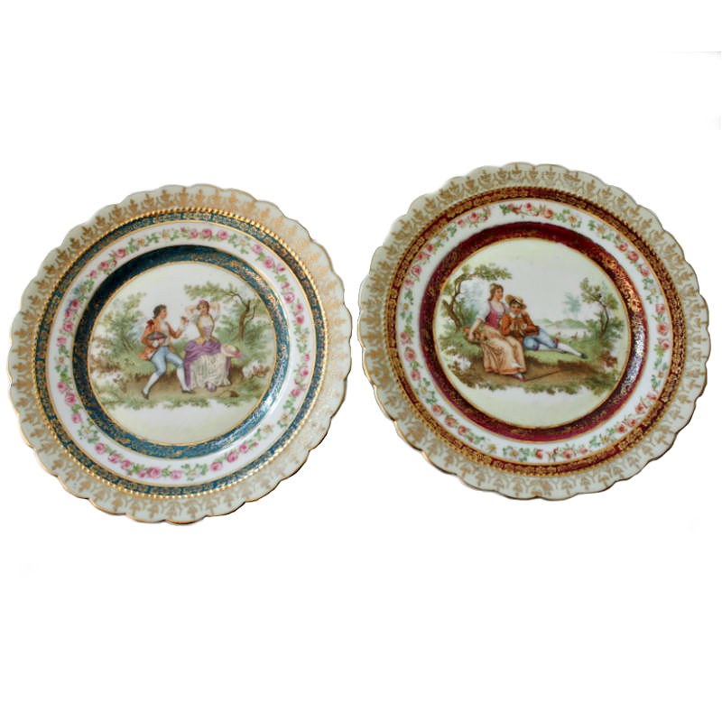 Vintage Romantic Scene Decorative Dishes Set of 2