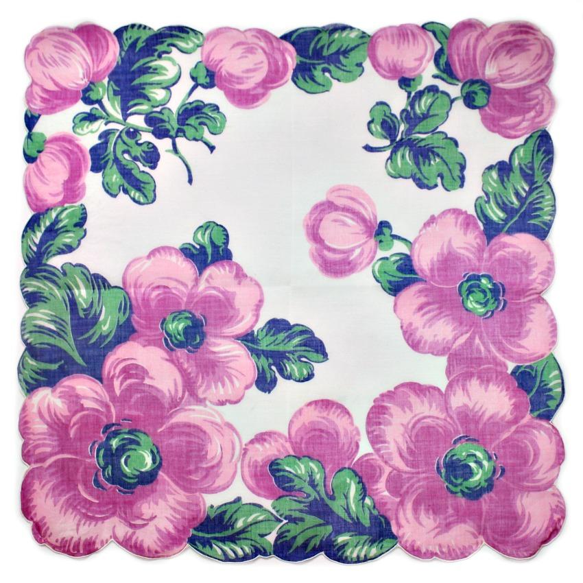 Vintage Voile Handkerchief Purple Blue Flowers