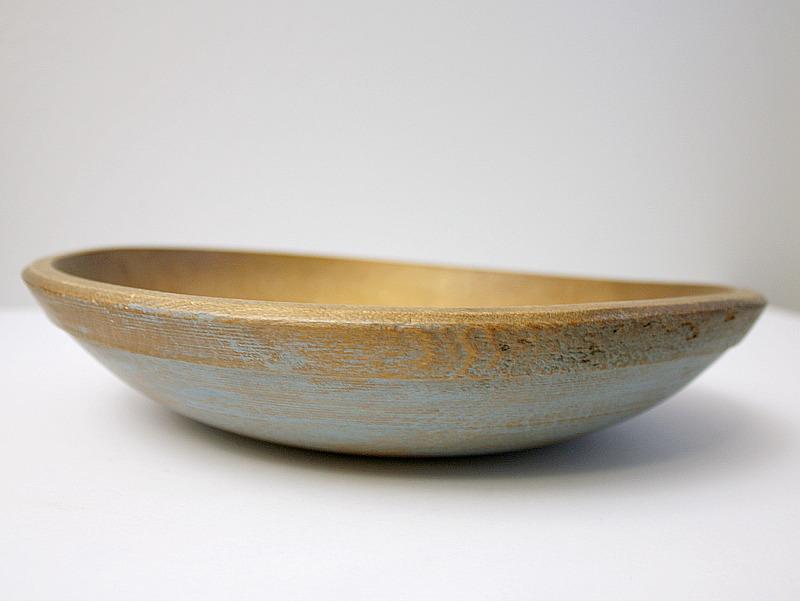 Vintage Wood Dough Bowl with Blue Paint