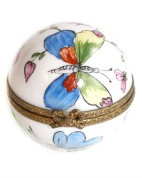 Vintage French Limoges Hand Painted Floral Miniature Butterfly Box