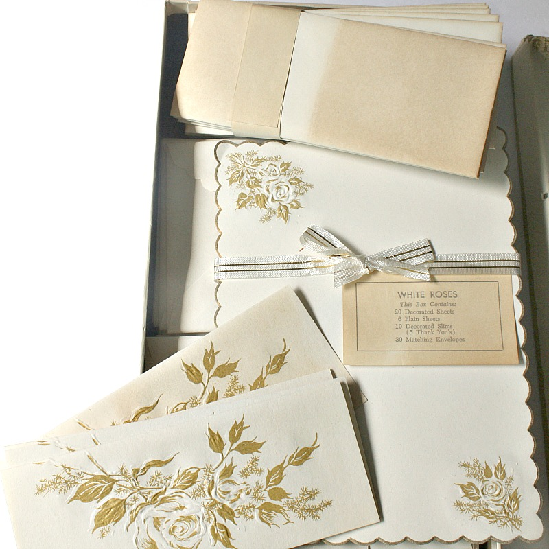 Vintage 1950s White Roses Set of Boxed Stationery