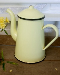 French Yellow Enamelware Coffee Pot