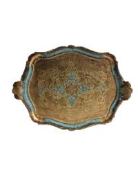 Vintage Florentine Tray Aqua Blue