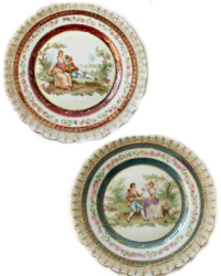 Vintage Romantic Scene Decorative Dishes Set of 2